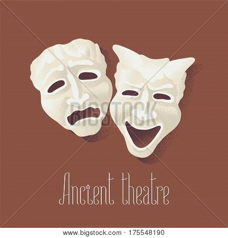 Theater masks for ancient theater vector illustration. Comedy and tragedy pantomime