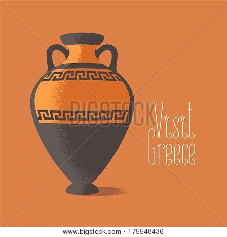 Visit Greece vector illustration. Ancient amphora image promoting travelling to Greece can be used as poster or clipart