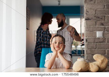 Sad Child During Parents Quarrel