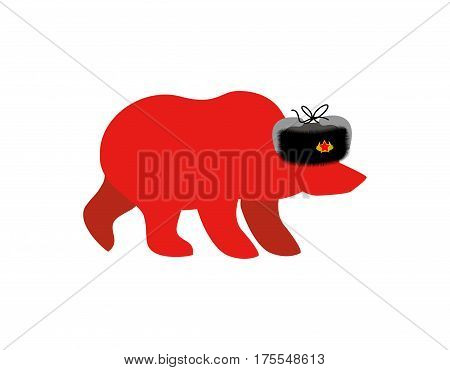 Russian Red Bear In Fur Hat. Communist Red Symbol In Ussr. Russia National Wild Animal