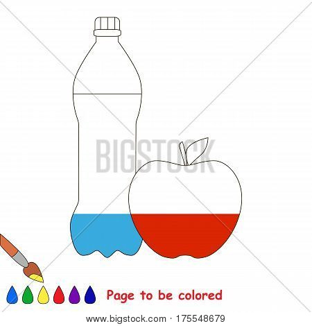 The Water and Apple, the coloring book to educate preschool kids with easy gaming level, the kid educational game to color the colorless half by sample.
