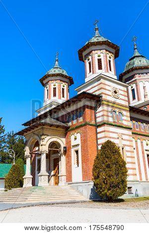 The church at the Orthodox Sinaia Monastery, Romania