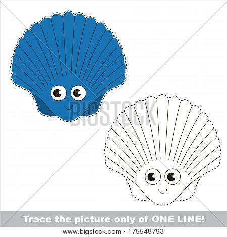 Blue Funny Seashell to be traced only of one line, the tracing educational game to preschool kids with easy game level, the colorful and colorless version.