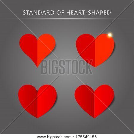 Vector standard heart shape pattern set (four)