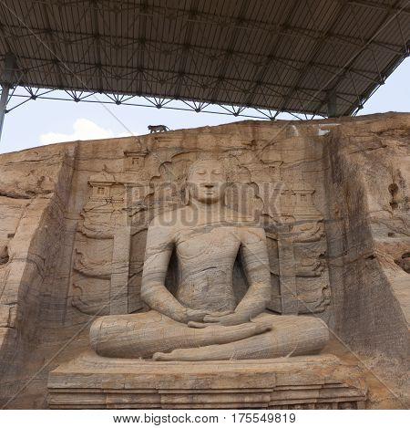 Statue of Gal Vihara in Polonnaruwa or Pulattipura ancient city Kingdom of Polonnaruwa in Sri Lanka