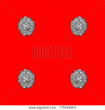 Damask repeating background. Red and white floral ornament in baroque style. Antique repeatable sketch. Doodles element on red and white background.