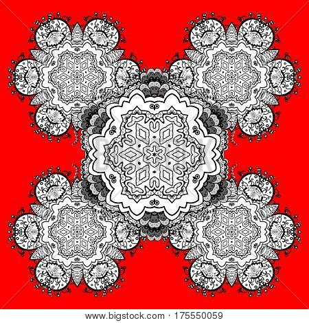 Classic vector white pattern. Traditional orient ornament. Classic vintage background. On red and white background with white elements and doodles.