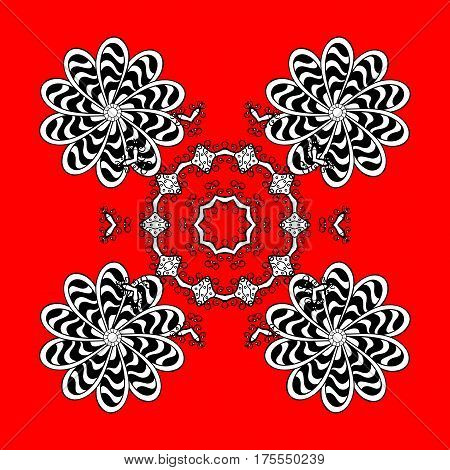 Classic vector white pattern. Floral ornament brocade textile pattern glass metal with floral pattern on red and white background with white elements.