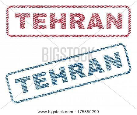 Tehran text textile seal stamp watermarks. Blue red fabric vectorized texture. Vector tag inside rounded rectangular shape. Rubber sign with fiber textile structure.