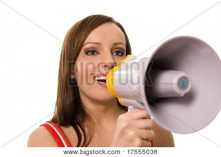 Beautiful young girl with megaphone on white