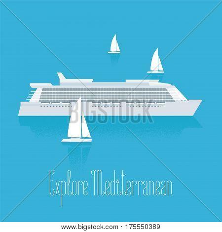 Cruise liner in Mediterranean vector illustration. Luxury cruise travel design element clipart. Modern ship