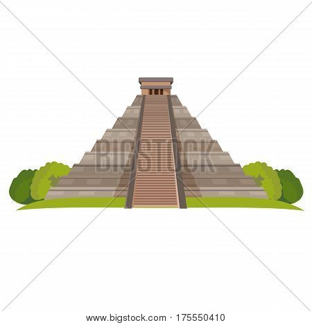 Aztec pyramid with green bushes at base isolated on white. Realistic vector illustration of Mayan Pyramid landmark in central Mexico.Temple of Kukulkan or El Castillo Pyramid in Chichen Itza
