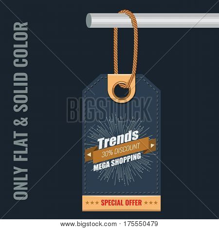 Special sale or discount offer tag banner with radial star light rays