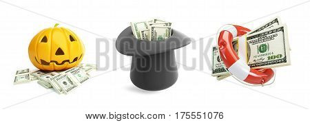 Life Buoy dollar Money Halloween hat dollar on a white background 3D illustration