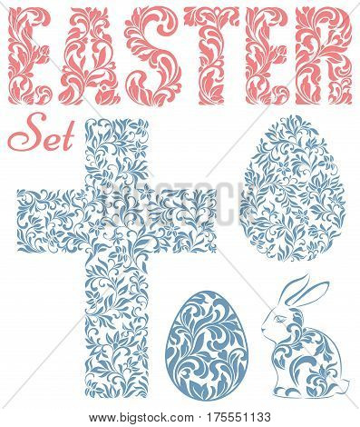 Easter set. Word EASTER Easter eggs rabbit and cross made of swirls and floral elements isolated on a white background