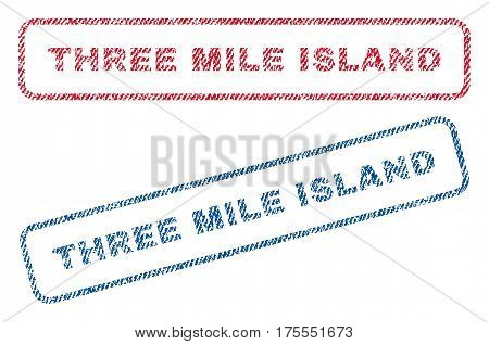 Three Mile Island text textile seal stamp watermarks. Blue, red fabric vectorized texture. Vector tag inside rounded rectangular banner. Rubber sticker with fiber textile structure.