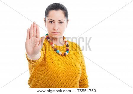 Serious Woman Making Stop Hand Sign