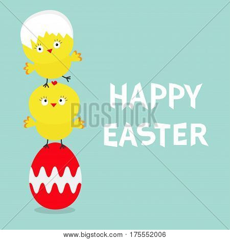 Two baby chick bird friends standing on painting red egg. Happy Easter Chicken pyramid family set. Farm animal. Cute cartoon funny character. Greeting card. Blue background. Flat design. Vector