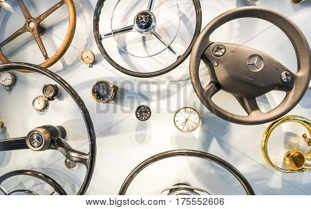 Stuttgart, Germany - September 2016: car accessories at the exposition of Mercedes Benz museum