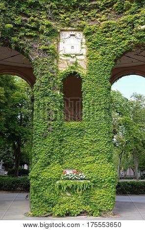ZAGREB, CROATIA - JULY 18: Monumental architecture of Mirogoj cemetery arcades in Zagreb, capital of Croatia on July 18, 2015.