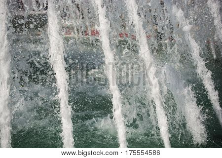 The Fountains Gushing Sparkling Water In A Poo