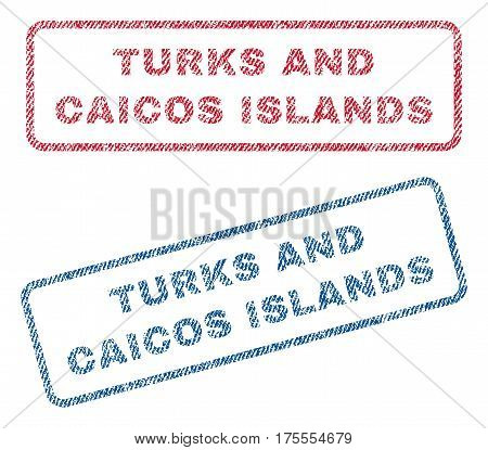 Turks and Caicos Islands text textile seal stamp watermarks. Blue, red fabric vectorized texture. Vector tag inside rounded rectangular shape. Rubber emblem with fiber textile structure.