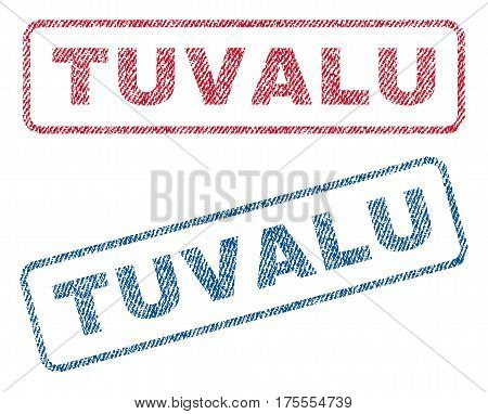 Tuvalu text textile seal stamp watermarks. Blue, red fabric vectorized texture. Vector tag inside rounded rectangular banner. Rubber sticker with fiber textile structure.