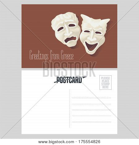 Postcard from Greece vector illustration with theater masks. Greek comedy and tragedy pantomime design element in template double sided greeting card