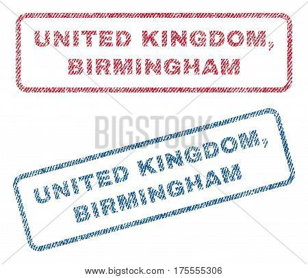 United Kingdom, Birmingham text textile seal stamp watermarks. Blue, red fabric vectorized texture. Vector tag inside rounded rectangular banner. Rubber sticker with fiber textile structure.