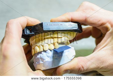 Biting test with prosthesis molds in a dental laboratory
