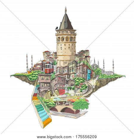 vector hand drawing istanbul galata tower view