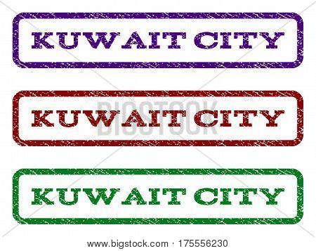 Kuwait City watermark stamp. Text tag inside rounded rectangle frame with grunge design style. Vector variants are indigo blue, red, green ink colors. Rubber seal stamp with dirty texture.