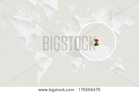 Ghana Map With Flag In Contour On White Polygonal World Map.