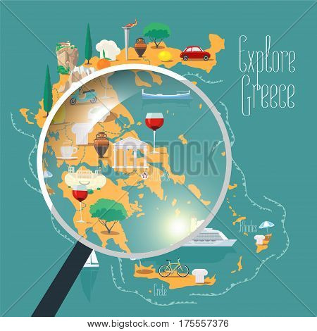 Map of Greece vector illustration design element. Icons with Greek landmark culture and archeology. Explore Greece concept image with magnifier