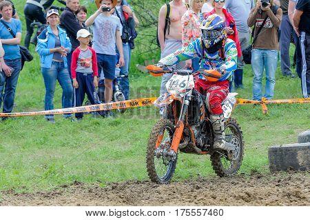 Enduro Moto Cross Rider On A Track