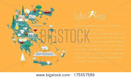 Map of Greece template vector illustration. Icons with Greek ruins travel destinations. Explore Greece concept image