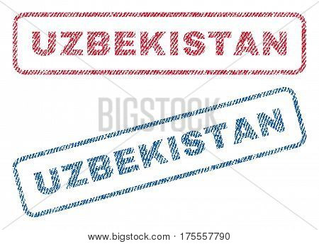 Uzbekistan text textile seal stamp watermarks. Blue, red fabric vectorized texture. Vector caption inside rounded rectangular shape. Rubber sign with fiber textile structure.