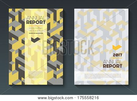 Vector annual report templates, abstract geometric background, polygonal shapes on vertical format