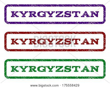 Kyrgyzstan watermark stamp. Text caption inside rounded rectangle with grunge design style. Vector variants are indigo blue, red, green ink colors. Rubber seal stamp with unclean texture.