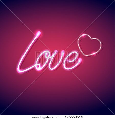 Neon icon Love Vector illustration Bright neon inscription Love with heart symbol on pink background Realistic style