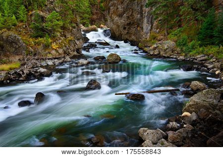 Whitewater river flowing past rocks in wilderness