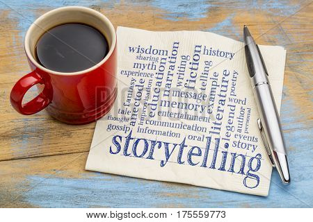 storytelling word cloud - handwriting on a napkin with a cup of coffee