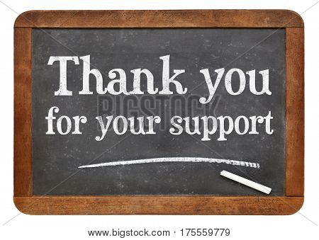 Thank you for your support sign - white chalk text on a vintage slate blackboard