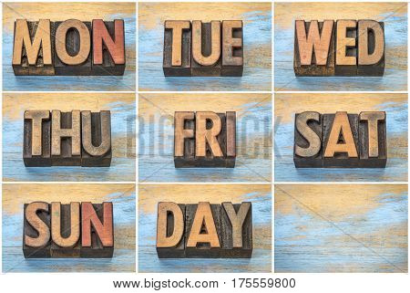 a set of days of week (abbreviations) in vintage letterpress wood type against grunge wooden background