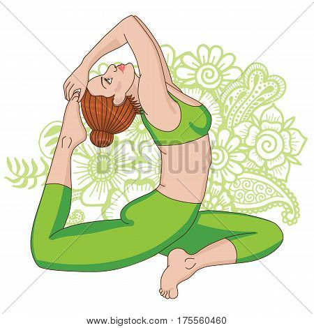 Women silhouette. One-legged king Pigeon yoga pose. Eka pada rajakapotasana. Vector illustration