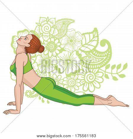 Women silhouette. Upward dog facing yoga pose. Urdhva mukha svanasana. Vector illustration