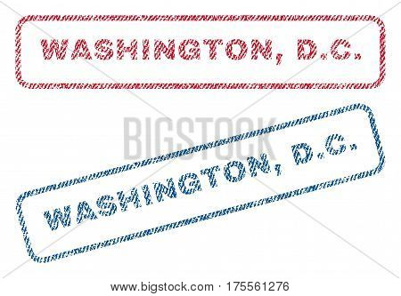 Washington, D.C. text textile seal stamp watermarks. Blue, red fabric vectorized texture. Vector caption inside rounded rectangular banner. Rubber sticker with fiber textile structure.