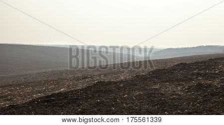 Ploughed field in early spring in Ukraine.
