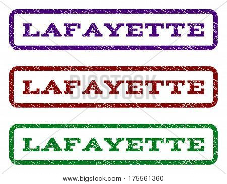 Lafayette watermark stamp. Text caption inside rounded rectangle with grunge design style. Vector variants are indigo blue, red, green ink colors. Rubber seal stamp with scratched texture.