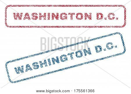 Washington D.C. text textile seal stamp watermarks. Blue, red fabric vectorized texture. Vector caption inside rounded rectangular banner. Rubber sign with fiber textile structure.